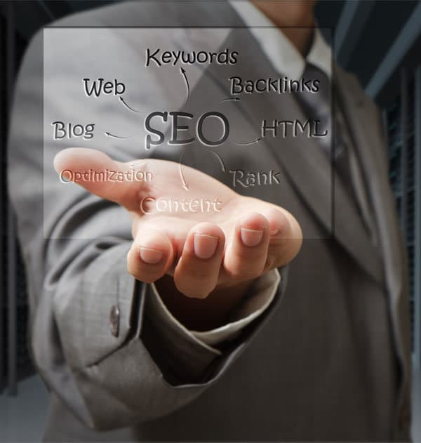 Business man showing important factors of on-page optimization